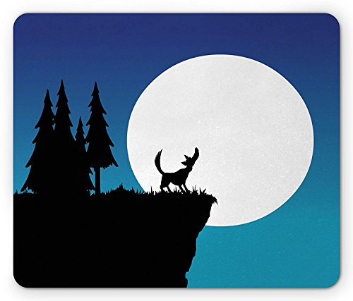 Crying Wolf Mouse Pad, Old School Cartoon Style Wolf on the Hill in the Night with Full Moon, Standard Size Rectangle Non-Slip Rubber Mousepad, Blue Black and White