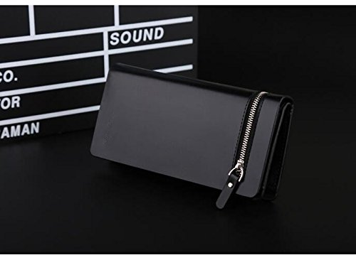 1 x Lange Brieftasche für Männer –PU / Kreditkarten Halter / Faltbarer Geldbörse / Brieftasche / Tasche mit Reißverschluss - Retro Linien & Braun Schwarz