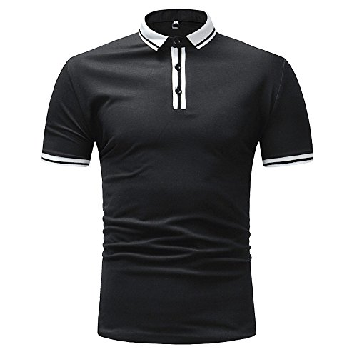 MNRIUOCII Herren Poloshirts Kurzarm Slim Fit Sommer T-Shirt Men's Polo Shirts Stretch Kurzarm Polohemd Polo Shirts Basic T-Shirt MäNner Sport Tank Tops Hemden Sweatshirt (C-Schwarz, M)