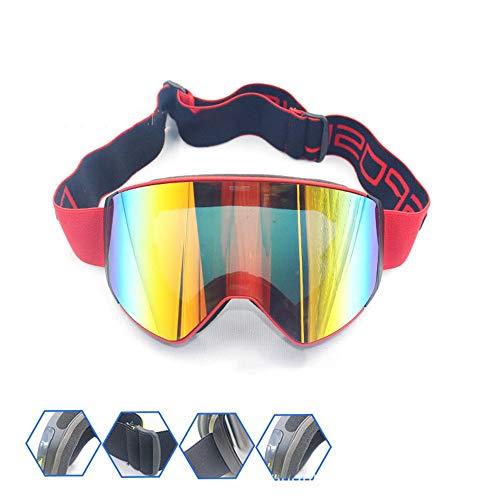 Subobo Fahrradbrille Männer und Frauen Bergsteiger Brille Skibrille Anti-Fog-Brille Borderless Skibrille für Männer und Frauen Geeignet für alle Outdoor-Sportarten (Color : Red Frame red Film)