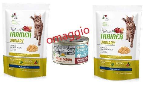 Trainer 2 Sacchi da 300 gr Natural Urinary Gatto - Cibo Secco - con Pollo, Omaggio 1 scatoletta Umido almo Nature Urinary