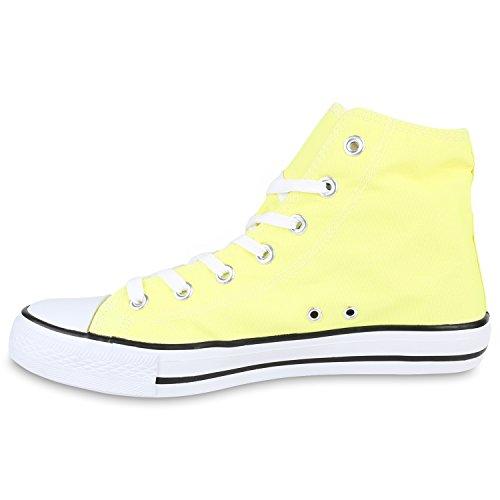 Herren Sneakers High Top Sportschuhe Freizeit Schnürer Stoffschuhe Gelb