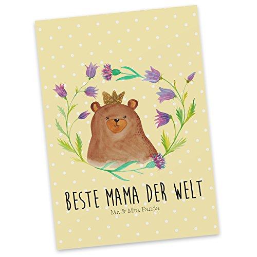 Mr. & Mrs. Panda Ansichtskarte, Karte, Postkarte Bär Königin mit Spruch - Farbe Gelb Pastell