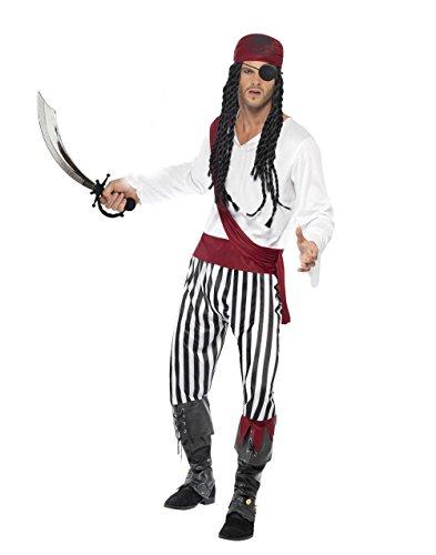 Pirat Kostüm Herren Gr. L komplett mit Hemd, Hose, Gürtel, Bandana, Schwert, Augenklappe Karneval Fasching (Teufel Kostüme Herren)
