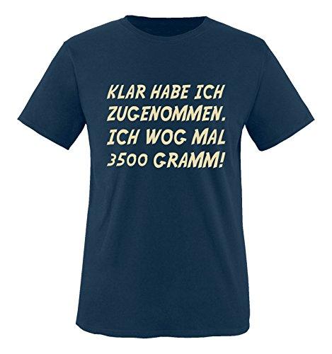 Comedy Shirts - Klar Habe ich zugenommen. Ich wog mal 3500 Gramm! - Herren T-Shirt - Navy/Beige Gr. L (Eine Braut-shirt Habe Ich)