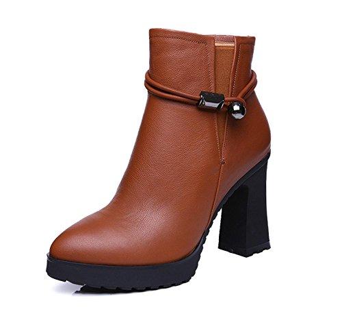 WSS chaussures à talon haut Couleur unie avec rond métallique décorative casual bottes Yellow
