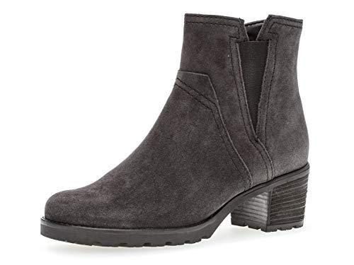 Gabor Damen Plateau Stiefeletten, Frauen Chelsea Boots,Comfort-Mehrweite,Reißverschluss,Übergrößen, Schlupfstiefel,Dark-Grey (Mel.),39 EU / 6 UK