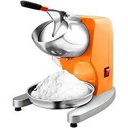 LP Ice crusher 300w Commercial Pro Accueil Cuisine éLectrique Rasoir à GlaçOns Machine Rasé La Glace De Neige Maker Caker Machine Broyeur De Rasage De La Glace 95 kg/h, Orange (Rehaussement)