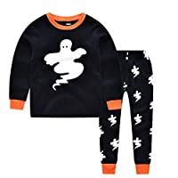 DOLYKUI 1-7 Years Pajamas Set Halloween Children Kids Boys Ghost Print Top+Long Pants Pajamas Set Suit For New Year Party Costume