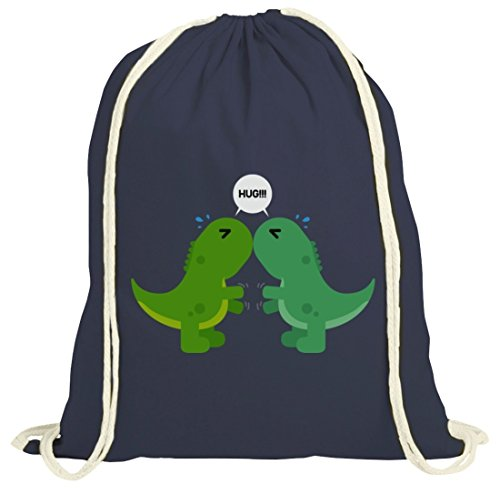 Geschenkidee natur Turnbeutel mit Dino Hug Motiv von ShirtStreet dunkelblau natur