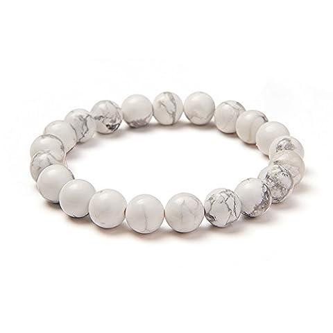 Sunnyclue Naturel authentique Blanc Gris howlite pierres précieuses Bracelet stretch Perles rondes 8 mm environ 17,8 cm Unisexe