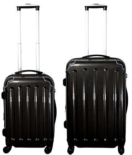 TOP-Preis - Kofferset 2-teilig 65 + 55 cm, 4 Rollen, Dehnfalte, Farbe: schwarz, Trolley - Set