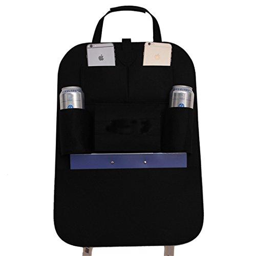 GWELL Auto Organizer Filz Rücksitztasche Autositztasche Sitzseitentasche Utensilientasche Aufbewahrungstasche Multi-Tasche für Autozubehör schwarz