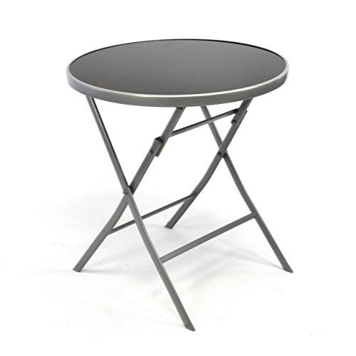 garten glastisch rund Nexos Bistrotisch mit Glasplatte klappbar Terrassentisch Gartentisch Glastisch schwarz