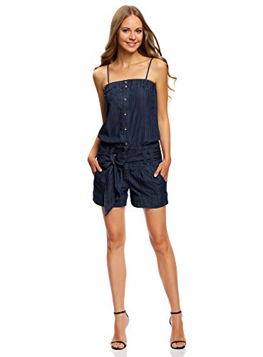 oodji Ultra Donna Salopette Jeans Spalline Sottili Blu IT 38 / EU 34 / XXS