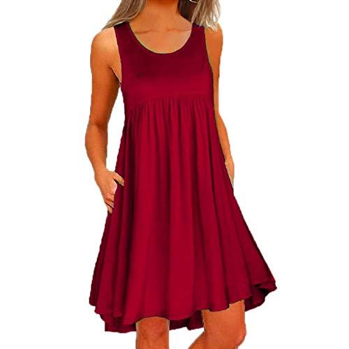 (Damen Kleid,Pottoa Frauen Kleider Sommer Kleid Frauen Kurz Frauen Kleider Sexy Lose Rundhals Basic Kleider Kleider FüR MäDchen Kleid Damen Festlich GroßE GrößEn (S, rot2))