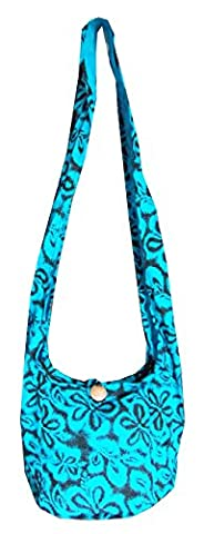 Hippie Bags Purse Small Hippy Floral Boho Hobo 100% Cotton Summer Beach Festival (Black and Blue)