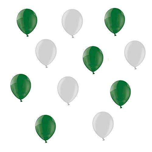 50 x Luftballons je 25 Dunkelgrün & Silber metallic - ca. Ø 28cm - 50 Stück - Ballons als Deko, Party, Fest, Baby, Junge, Mädchen, Geburt, Hochzeit - Farbe Dunkelgrün & Silber metallic - für Helium geeignet - twist4® (Dunk Mädchen)