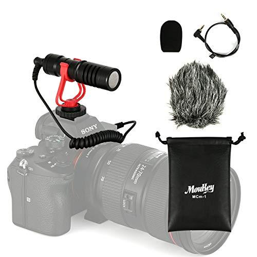 Moukey MCm-1 Microfono per videocamera universale con ammortizzatore, anti-vento furry sintetico e copertura in schiuma, cavo di conversione da 3,5 mm