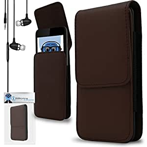 iTALKonline Gigabyte Gsmart G1305 Boston Brown PREMIUM PU Leather Vertical Executive Side Pouch Case Cover Holster with Belt Loop Clip and Magnetic Closure Includes Brown Premium 3.5mm Aluminium High Quality In Ear Stereo Wired Headset Hands Free Headphones with Built in Mic Microphone and On Off Button