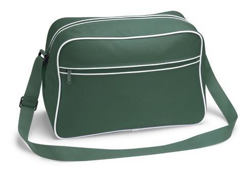 Retro Shoulder Bag im Design der Siebziger, Schultertasche Sporttasche aus Nylon mit Paspelierung in fünf trendigen Farben Dunkelgrün (Bag Messenger Shoulder Retro)