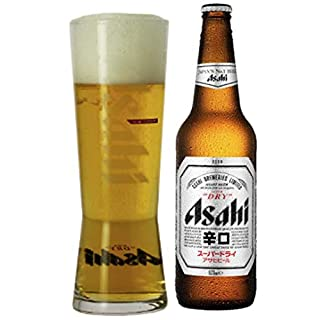 Bottle of Asahi Dry (330 Millilitre) and Asahi Pint Glass Set
