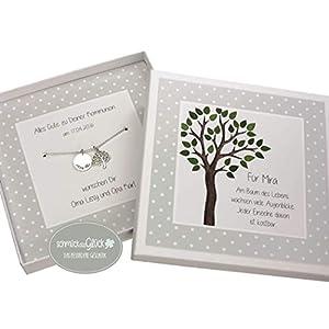 Taufkette Lebensbaum Junge Mädchen 925 Silber mit Gravur und Geschenkbox Taufgeschenk personalisierte Kette zur Taufe Kommunion Geburt Taufschmuck HANDMADE IN GERMANY