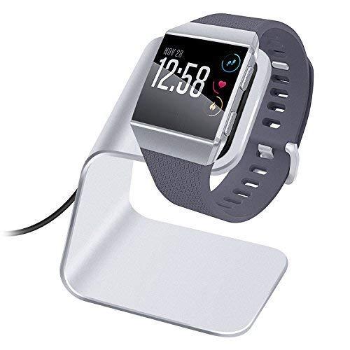 KIMILAR Ladegerät Kompatibel mit Fitbit Ionic Ladestation, Premium Aluminium Ladestation mit 3 Fuß Ladekabel Zubehör Ladestation Halter Kompatibel mit Fitbit Ionic Health & Fitness (Silber)