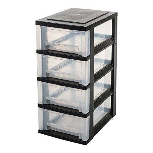 IRIS, Schubladenschrank / Schubladenbox / Rollwagen / Rollcontainer / Werkzeugschrank \'Smart Drawer Chest\', SDC-004, mit Rollen, Kunststoff, schwarz / transparent