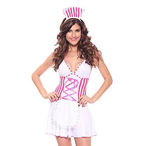 Liu Sensen Wäsche Für Frauen Reizvolle Krankenschwester Marine Maid Uniform Outfits Cosplay Unterwäsche Sets Rosa Gestreiften Kleid Milch Seide Nightskirt