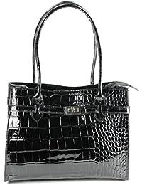Belli sac à main ® étui élégant en cuir de crocodile noir laqué 35 x 27 x 15 cm (l x h x p)