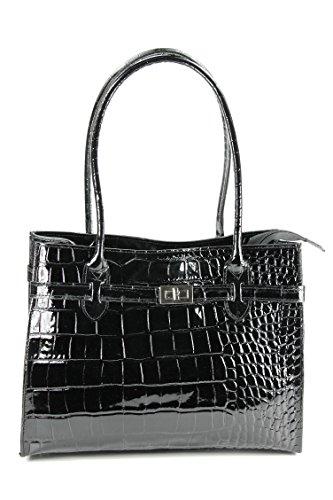 BELLI Damen Ledertasche edle Schultertasche Handtasche aus echtem Leder - 35x27x15 cm (B x H x T) (Schwarz Lack Kroko) - Schwarze Kroko-handtasche