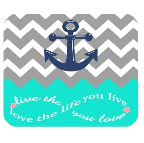 Infinity Live The Life You Love,Love The Life You Live Chevron Pattern with Nautical Anchor Turquoise Grey White Durable Cloth Cover Rectangle Mousepad Mouse Mat 250mm*300mm Inch