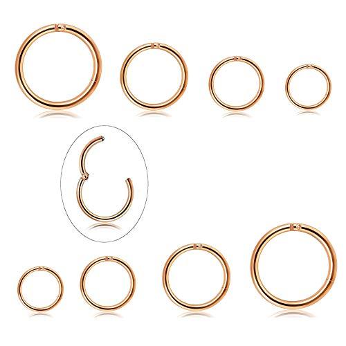 Milacolato 4 Pairs Edelstahl 16G Sleeper Ohrringe Septum Clicker Nase Lip Ring Piercing (Indische Ring Nickel)