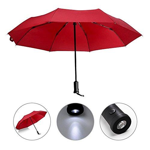 Automatik Regenschirm mit LED Griff, reflektierende wendbar Regenschirm faltbar Sicherheit, Regen und UV-Schutz Winddichte und wasserfeste, rot
