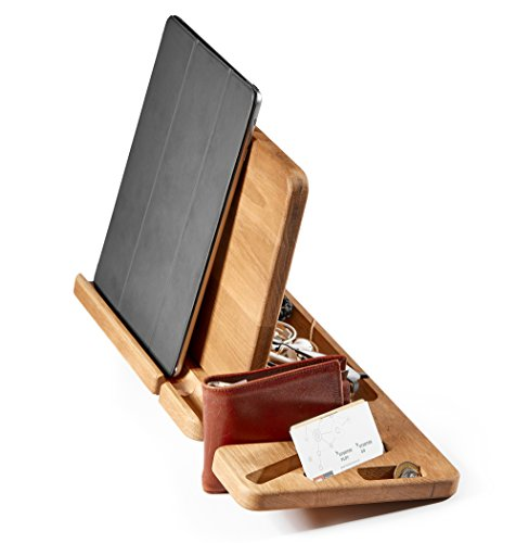 Oak Wood Phone Tablet Charger Docking Station - Desk Organizer With Watch, Wallet and Sun Glass Stand - Gift for Men