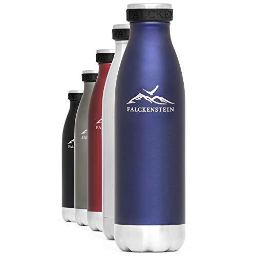 FALCKENSTEIN Edelstahl Trinkflasche Isolierflasche Wasserflasche Thermoflasche Kinder Thermosflasche Kohlensäure geeignet auslaufsicher spülmaschinenfest BPA frei Water Bottle Blau