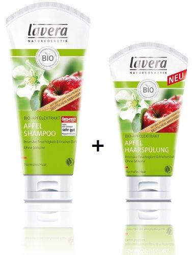 Lavera Apfel Shampoo 200 ml und Apfel Haarspülung 150 ml im Set