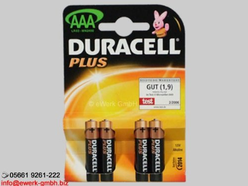 Duracell Plus 4x Batterie AAA - Micro