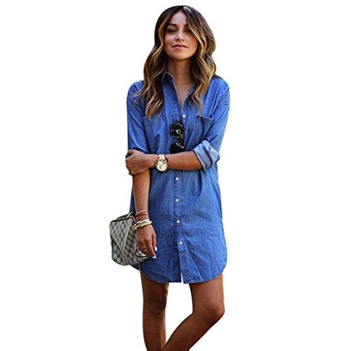 FEITONG Las mujeres del dril de algodón de manga larga La camisa ocasional del vaquero Blusa camiseta de las tapas (XL, Azul)