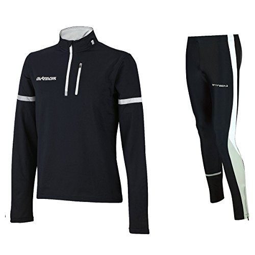 Airtracks Winter Funktions Laufset Pro / Thermo Laufhose Lang + Thermo Shirt Langarm - schwarz - L