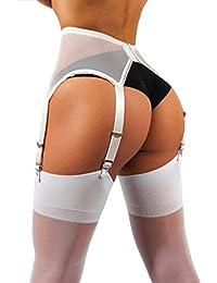 sofsy Medias Sheer Thong de Garter y cinturones de ligueros Plain 15 Den [Hechos en Italia] (¡por favor note que liguero y bragas no están includas!)