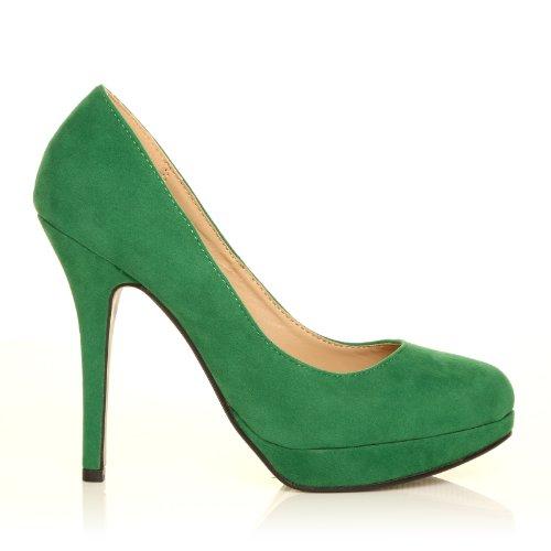 Chaussures À Talons Aiguilles Et Hautes Plateformes Decolletè, Faux Suede Green, Eve Suede Vert