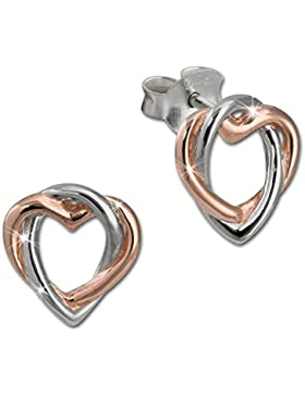 SilberDream Damen Ohrstecker Herz rose vergoldet 925 Silber Damen Ohrringe SDO452E
