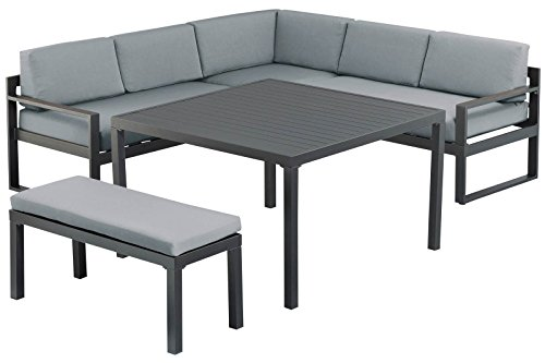 Kettler Ocean Sitzgruppe Garnitur in Anthrazit-Grau aus Aluminium, inkl. Sitzpolster, Loungegruppe für 6 Personen mit Kissen - Kettler Gartenmöbel