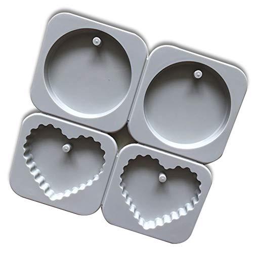 XiangChengShiDing Silikon-Plätzchen-Formen 4 Hohlraum-3D-Herz-Form-Fondant-Dekorations-Werkzeug-Schokoladen-Form DIY Backen-Werkzeug Hausgemachte Weihnachts-Biskuit-Form (1pc)