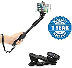 Drumstone Selfie Monopod Stick with Bluetooth Remote Controller and Universal 3 In 1 Mobile Camera Lens for Smartphones (Multicolour)