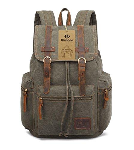 Imagen de bluboon vintage  de lona para hombre/mujer casual backpack canvas rucksack verde