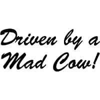 LightningSigns Driven by a Mad Cow Bumper Car Van 4x4 Sticker Decal