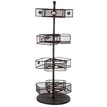 meuble d'appoint rond chic en métal et paniers grillages sur 4 niveaux 55X52X148CM J-Line
